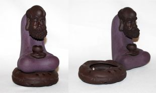 Damo (Bodhidharma) Crimson Clay Incense Burner