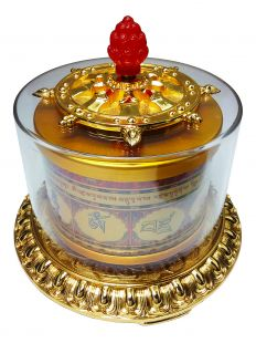 100 Syllable mantra and Vajrasattva mantra Hand-Spined Prayer Wheel (L)