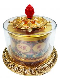 Guru Rinpoche Mantra Hand-Spined Prayer Wheel (L)