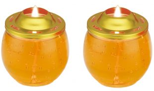 Crystal Oil candle (S) cup , a pair (Yellow , 32 hours /a piece )
