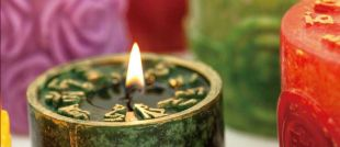 Safe aromatic candle Green Tara Mantra prayer ~ Eucalyptus fragrance