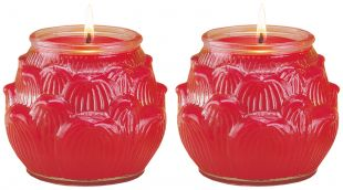 2.5-3 days Ghee Oil candle (L) lotus shape, a pair. (R)